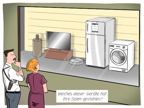 Cartoon: Smart Home (medium) by CloudScience tagged smart,home,iot,internet,der,dinge,of,things,datensicherheit,big,data,cloud,sicherheit,daten,datenschutz,abhoeren,it,sensoren,ueberwachung,nsa,alexa,sprachassistent,staubsauger,kuehlschrank,tv,gegenueberstellung,polizei,digitalisierung,digital,cop,technik,technologie,tech,security,itsecurity,netzwerksicherheit,zukunft,datendiebstahl,smart,home,iot,internet,der,dinge,of,things,datensicherheit,big,data,cloud,sicherheit,daten,datenschutz,abhoeren,it,sensoren,ueberwachung,nsa,alexa,sprachassistent,staubsauger,kuehlschrank,tv,gegenueberstellung,polizei,digitalisierung,digital,cop,technik,technologie,tech,security,itsecurity,netzwerksicherheit,zukunft,datendiebstahl
