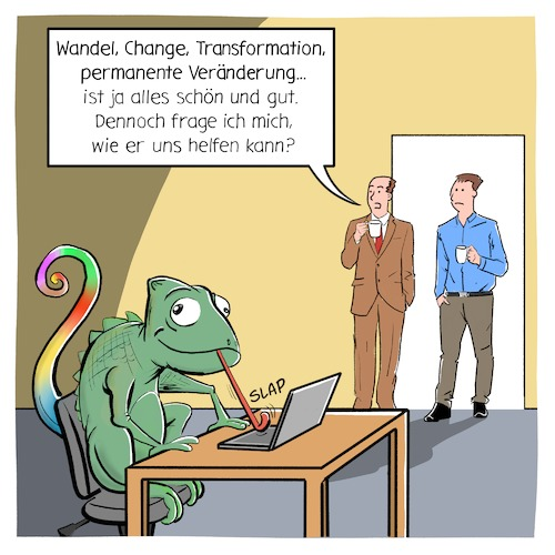 Cartoon: Veränderung (medium) by CloudScience tagged veränderung,transformation,change,wandel,disruption,new,work,arbeit,digitalisierung,digital,arbeitsmarkt,zukunft,chameleon,flexible,management,it,business,büro,office,hr,agil,agilität,globalisierung,tech,technik,technologie,unternehmenskultur,veränderung,transformation,change,wandel,disruption,new,work,arbeit,digitalisierung,digital,arbeitsmarkt,zukunft,chameleon,flexible,management,it,business,büro,office,hr,agil,agilität,globalisierung,tech,technik,technologie,unternehmenskultur
