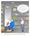 Cartoon: Inventur mit Drohnen (small) by CloudScience tagged logistik,drohnen,lager,bestandsaufnahme,lagerlogistik,industrie,lagermitarbeiter,drohne,wirtschaft,automatisierung,produktivität,zukunft,innovation,tech,technik,technologie,digitalisierung,digital,intralogistik,chef,it