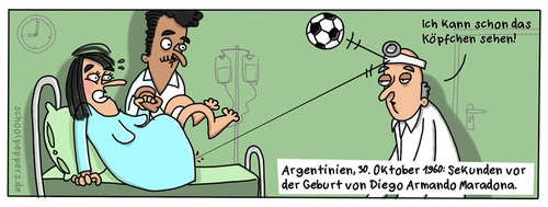 Cartoon: Schoolpeppers 177 (medium) by Schoolpeppers tagged geburt,arzt,maradona,fussball