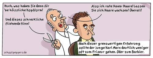 Cartoon: Schoolpeppers 277 (medium) by Schoolpeppers tagged friseur,marx,karl,promi