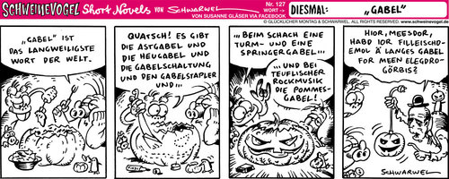 Cartoon: Schweinevogel Gabel (medium) by Schweinevogel tagged schwarwel,cartoon,witz,witzig,schwein,schweinevogel,iron,doof,sid,pinkel,gabel,kürbis,halloween