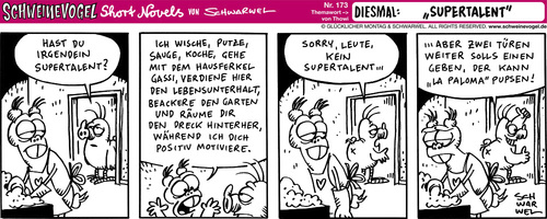 Cartoon: Schweinevogel Supertalent (medium) by Schweinevogel tagged schwarwel,witz,cartoon,shortnovel,irondoof,supertalent,haushalt