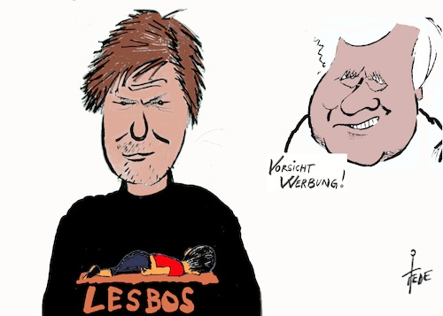 Cartoon: Lesbos (medium) by tiede tagged habeck,seehofer,lesbos,fllüchtlingslager,migration,aylan,kurdi,tiede,cartoon,karikatur,habeck,seehofer,lesbos,fllüchtlingslager,migration,tiede,cartoon,karikatur