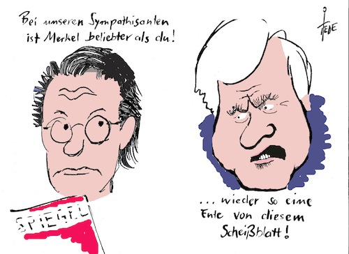 Cartoon: Seehofer (medium) by tiede tagged seehofer,merkelrer,scheuer,beliebtheit,tiede,tiedemann,cartoon,karikatur,seehofer,merkel,beliebtheit,tiede,tiedemann,cartoon,karikatur