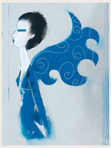 Cartoon: blue swan (medium) by petmo tagged girl,swan,blue,portrait