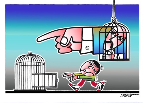 Cartoon: Go to the cage (medium) by kifah tagged go,to,the,cage