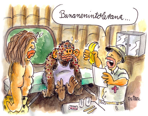 Cartoon: Intoleranz (medium) by REIBEL tagged banane,affe,tarzan,allergie,intoleranz,doktor,dschungel,diagnose,banane,affe,tarzan,allergie,intoleranz,doktor,dschungel,diagnose,ausschlag