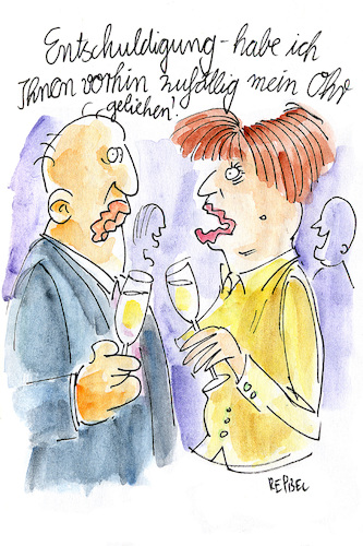 Cartoon: Partyphänomen (medium) by REIBEL tagged party,ohr,reden,kalauer,sekt,silvester,smalltalk,party,ohr,reden,kalauer,sekt,silvester,smalltalk,mann,frau,labern