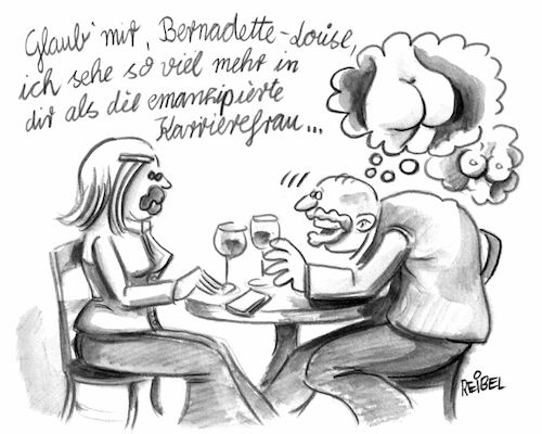 Cartoon: Post-Feminismus (medium) by REIBEL tagged feminismus,sexismus,männer,frauen,karriere,politisch,korrekt,trieb,macho