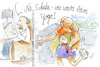 Cartoon: yoga (small) by REIBEL tagged yoga,gesundheit,fitness,ehepaar,verrknotet,stellungen,ironie