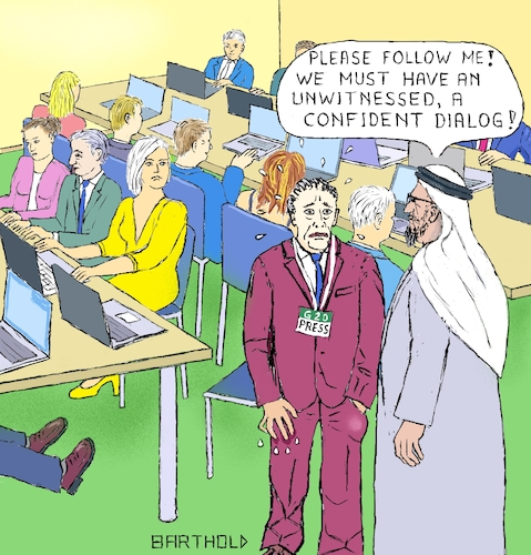 Cartoon: G20-Summit 2020 in Saudi Arabia (medium) by Barthold tagged g20,summit,2020,saudi,arabia,murder,jamal,ahmad,khashoggi,journalist,press,room,safety,physical,integrity,inviolability