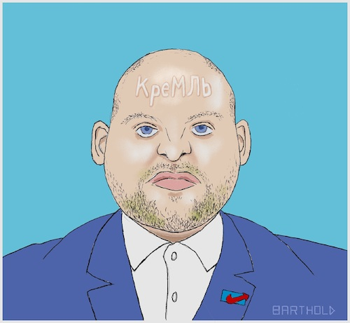 Cartoon: Markus Frohnmaier (medium) by Barthold tagged markus,frohnmaier,afd,bundestagsabgeordneter,einflussagent,russland,russlandbeziehungen,spiegel,zdf,bbc,repubblica,schriftzug,kyrillisch,kreml