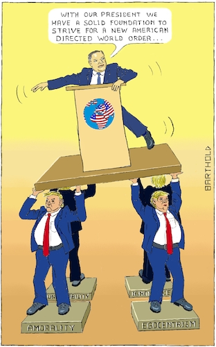 Cartoon: Pompeo Promotes New World Order (medium) by Barthold tagged donald,trump,president,usa,mike,pompeo,secretary,state,programmatic,speech,brussels,2018,dec,gmf,german,marshall,fund,lectern,desk,unilateralism,multilateralism,world,order,pedestal,amorality,egocentrism,unreliability,ignorance,caryatid