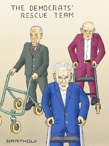 Cartoon: The Democrats Rescue Team (medium) by Barthold tagged usa,united,states,america,michael,bloomberg,bernie,sanders,joe,biden,walking,frame,rollator,presidential,election,2020