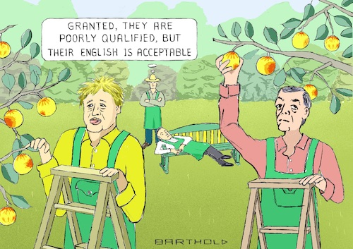 Cartoon: The Shutting Out of Fruitpickers (medium) by Barthold tagged new,immigration,rules,2021,restrictions,low,education,levels,harvesters,fruitpickers,unskilled,workers,farm,hands,assistants,boris,johnson,nigel,farage,jacob,reese,moog,orchard,grower,cartoon,caricature,barthold,new,immigration,rules,2021restrictions,low,education,levels,harvesters,fruitpickers,unskilled,workers,farm,hands,assistants,boris,johnson,nigel,farage,jacob,reese,moog,orchard,grower,cartoon,caricature,barthold