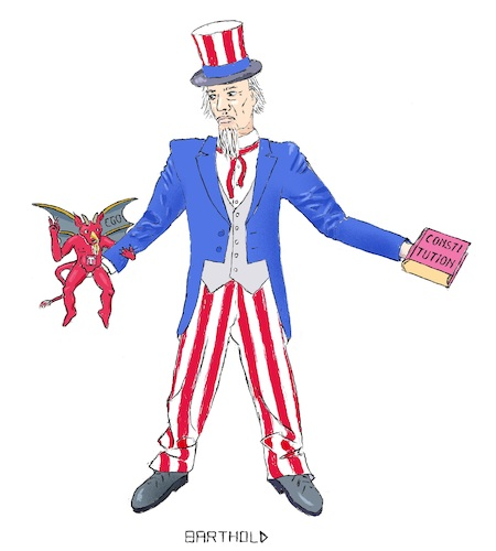 Cartoon: The Wall America Needs to Decide (medium) by Barthold tagged wall,mexico,budget,congress,donald,trump,ego,constitution,devil,uncle,sam,national,emergency,american,courts