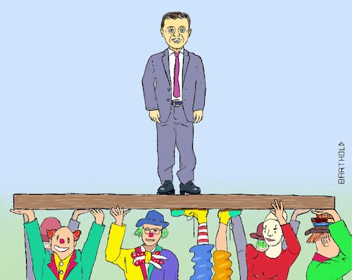Cartoon: Ukraine Parliament Election 2019 (medium) by Barthold tagged ukraine,parliament,elections,july,2019,wolodymyr,selenkyj,servant,people,absolute,majority,clowns