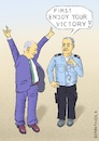 Cartoon: Bibi can look confidently forwd. (small) by Barthold tagged israel,parliament,election,march,2020,victory,benjamin,netanyahu,likud,awaiting,prosecution,corruption,bribery,granting,undue,advantage,policeman,handcuffs,caricature,barthold