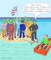 Cartoon: U.K. - Two Weeks Quarantine (small) by Barthold tagged corona,sars,cov2,pandemic,measures,great,britain,june,2020,arriving,travelor,travellor,mandatory,quarantine,priti,patel,isle,rowboat,policeman,officer,cop,two,weeks,caricature,barthold
