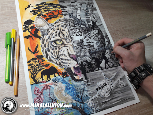 Cartoon: Drawing Eziyize - Dark Art (medium) by Art by Mihai Alin Ion tagged drawing,illustration,painting,darkart,eziyize,mihaialinion,tiger,savanah,pencildrawing,mixedmedia