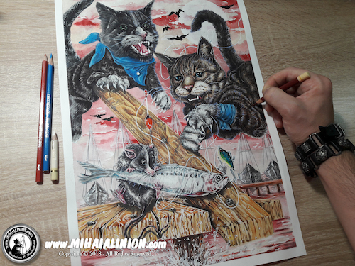 Cartoon: Drawing Harbour Chase - Dark Art (medium) by Art by Mihai Alin Ion tagged drawing,painting,illustration,artwork,darkart,cats,mouse,horror,portfolio,mihaialinion,pencildrawing