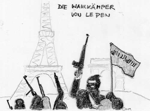 Cartoon: Wahlkaempfer fuer LePen (medium) by kritzelcarl tagged lepen,terror
