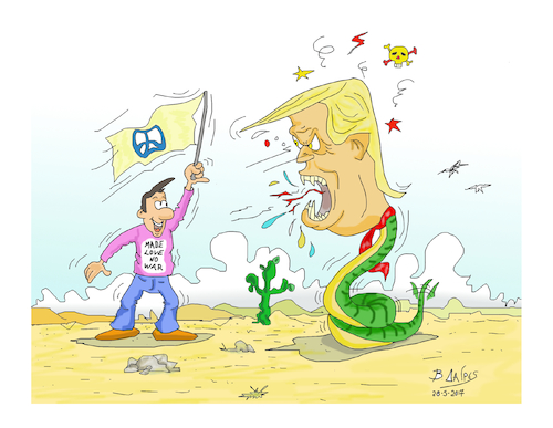 Cartoon: DONALD TRUMP  PEACE (medium) by vasilis dagres tagged donald,tramp,peace