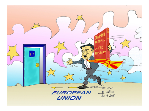 Cartoon: skopia European UNION (medium) by vasilis dagres tagged greece,european