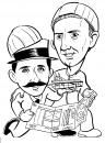 Cartoon: the Wright brothers (small) by mwhite64 tagged history,airplane,construction,caricature