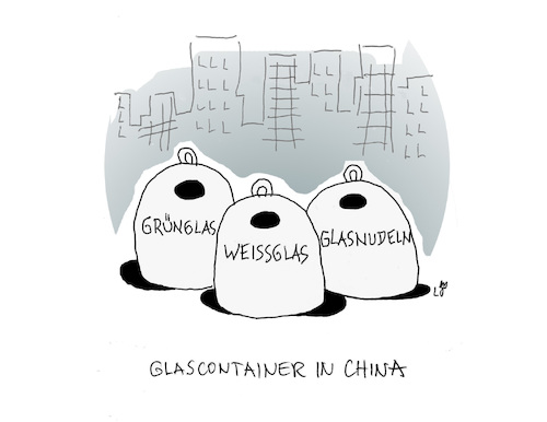 Cartoon: Glascontainer in China (medium) by Lo Graf von Blickensdorf tagged altglas,glascontainer,china,glasnudeln,chinarestaurant,altglas,glascontainer,china,glasnudeln,chinarestaurant