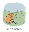 Cartoon: Golf (small) by Lo Graf von Blickensdorf tagged sport,caddy,grün,golfsport,wortspiel,cartoon,hamster,goldhamster,einlochen
