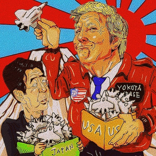 Cartoon: merchant of death (medium) by takeshioekaki tagged trump