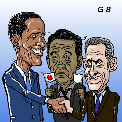 Cartoon: Prime Minister G8 stand out? (medium) by takeshioekaki tagged g8,japan,sarközy,obama