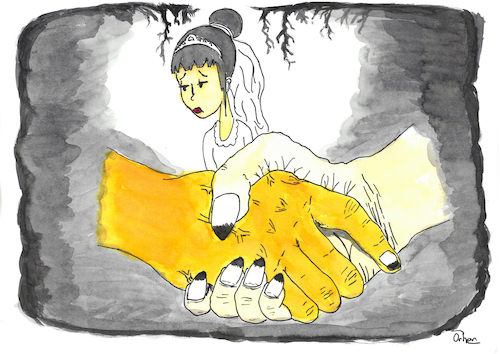 Cartoon: Child brides (medium) by Orhan ATES tagged child,bride,girls,sell,sadness,overwhell,stop,money,humanity