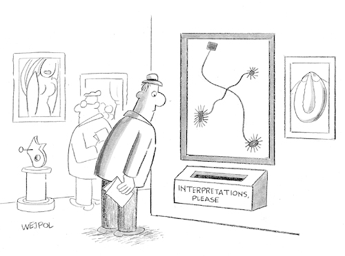Cartoon: Pictures at an Exhibition (medium) by Werner Wejp-Olsen tagged interpretations,paintings,gallery,museum,art,artists