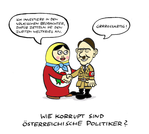 Cartoon: Korruptionsführer (medium) by Bregenwurst tagged österreich,fpö,strache,korruption,oligarchin,hitler,matroschka