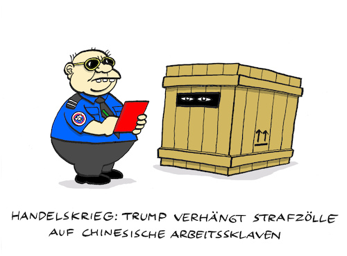 Cartoon: Zöllerei (medium) by Bregenwurst tagged zölle,usa,china,importe,sklaven,handelskrieg,außenhandel,übergewicht