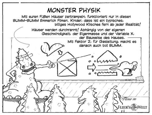 Cartoon: Monster Physik (medium) by FliersWelt tagged monster,physik,hollywood,geschwindigkeit