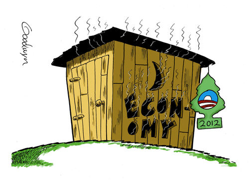 Cartoon: Economy Outhouse (medium) by Goodwyn tagged pine,outhouse,toilet,bathroom,smell,grass,obama,air,freshener