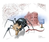 Cartoon: US Presidential Transition (small) by Goodwyn tagged obama,trump,spider,web,white,house