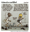 Cartoon: Adam Eve and God 45 (small) by mortimer tagged mortimer mortimeriadas cartoon comic biblical adam eve god snake paradise bible