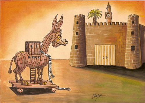 Cartoon: 12th June Elections (medium) by menekse cam tagged donkey,trojan,trick,cheating,republic,freedom,democracy,modernity,elections,castle,izmir