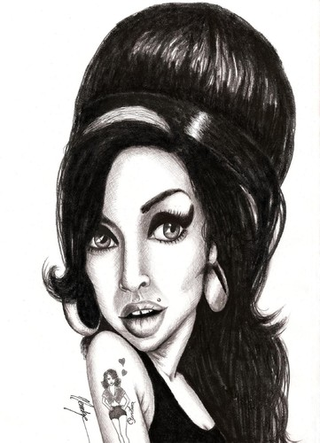 Cartoon: Amy (medium) by menekse cam tagged death,drug,star,england,jazz,soul,british,songwriter,singer,winehouse,amy,kadin,sarkc