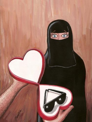 Cartoon: Gift (medium) by menekse cam tagged heart,love,sunglasses,black,burka,men,women,man,woman,gift,day,valentines,kadin,ask,baski,gender,relationship,marriage