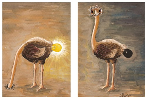 Cartoon: Ostrich (medium) by menekse cam tagged emblem,bulb,elections,akp,status,turkey,ostrich,politisch,politics,political,government,party,condition,tiere,tier,vogel,strauß,idee,ideen,inspiration,kopf in sand,kopf,in,sand