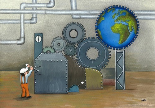 Cartoon: Producing Industry (medium) by menekse cam tagged producing,industry,wheels,world,factory,worker