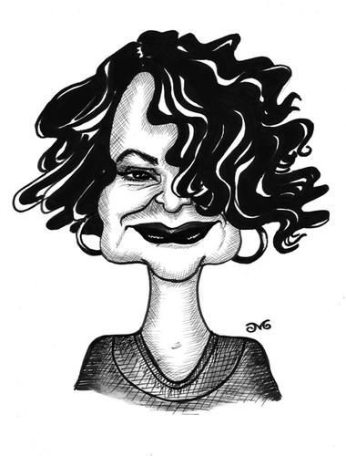 Cartoon: Yaprak Bozkurt (medium) by menekse cam tagged yaprak,bozkurt,artlover,friend,portrait,caricature,pen,ballpoint,black,white,trial