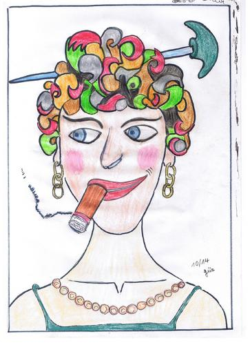 Cartoon: weird woman (medium) by skätch-up tagged frau,woman,weird,seltsam,zigarre,cigar