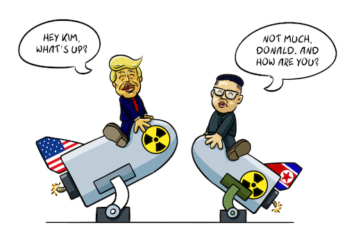 Cartoon: Donald and Kim (medium) by Sven Raschke tagged donald,trump,kim,jong,un,war,diplomacy,usa,north,korea,donald,trump,kim,jong,un,war,diplomacy,usa,north,korea